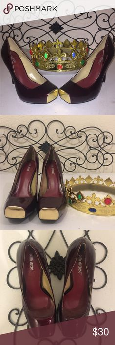"""Gold Toe Ballet Platform Heels PRICE FIRMEUC. Burgundy vegan patent leather 4.5"""" heels with ballet gold toe tips. Approx. 1"""" hidden platform. Letters inside shoe peeled when sticker removed. Worn once inside on carpet. Slight damage on top of back of right shoe, see photo. PRICE FIRM Check out the rest of my closet! Shoes Platforms"""