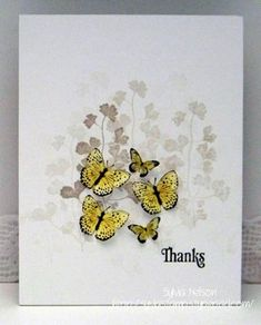 Card base is kraft, matted with white. Stamping is in Crumb Cake (kraft) ink and the butterflies are black stazon, Daffodil Delight and Summer Starfruit. This is a very simple thank you card, but effective!