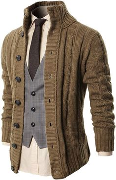 Mens Casual Stand Collar Cable Knitted Button Down Cardigan Sweater Beige - Mens Shirts Casual - Ideas of Mens Shirts Casual - Mens Clothing Shirts Dress Shirts Mens Casual Stand Collar Cable Knitted Button Down Cardigan Sweater Beige Beige Sweater, Men Sweater, Mens Sweater Outfits, Mens Clothing Styles, Men's Clothing, Trendy Clothing, Clothing Ideas, Trendy Outfits, Pulls