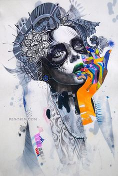 Markers and acrylic paint by Minjae Lee