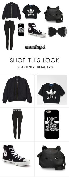 """mondays"" by angie-1669 on Polyvore featuring Monki, adidas, Calvin Klein, Converse and Loungefly"