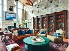 Connecticut-based interior designer Susan Bednar Long in Deer Valley, Utah. Stone and dark wood for a library. Decor, Room, Interior, Live In Style, Pretty House, Mountain Living, Home Decor, Residential Interior Design, Interior Design