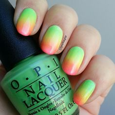 Neon gradient with Opi - You are so outta lime, Life gave me lemons och Hotter than you pink