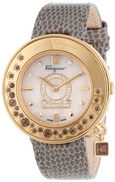 """Salvatore Ferragamo Women's """"Gancino"""" Diamond-Accented Gold Ion-Plated Watch with Leather Band Fancy Watches, Cute Watches, Luxury Watches, Watches For Men, Stylish Watches, Salvatore Ferragamo, Rubin Rose, Nike Watch, Mens Dress Watches"""