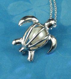 Turtle Jewelry Locket With Genuine Pearl by BoardwalkBaubles, $21.00