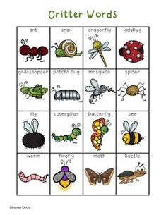 Writing Center Tools- Critter  Words (bugs, spiders, snails, etc.)