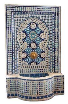 fountain Granada fountain: Moroccan Mosaic Tile Fountain with Andalusian Moorish Tile Work. Patterns handcut by artisans.Granada fountain: Moroccan Mosaic Tile Fountain with Andalusian Moorish Tile Work. Patterns handcut by artisans. Mosaic Art, Mosaic Glass, Mosaic Tiles, Moroccan Garden, Moroccan Decor, Moroccan Bedroom, Moroccan Lanterns, Moroccan Tiles, Dressing Design