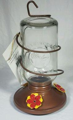 NWT Bird Cafe Glass Mason Jar Hummingbird Feeder