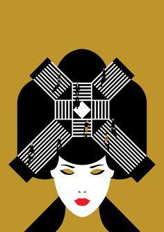 Malika Favre, for Shop Magazine, Tokyo [Graphic Design database by Delphine de Canecaude contact Art And Illustration, Portrait Illustration, Illustrations Posters, Geisha Kunst, Geisha Art, Penguin Books, Art Pop, The New Yorker, Malika Fabre