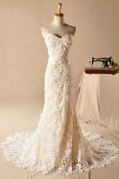 Sheath/Column Sweetheart Sleeveless Lace Zipper Court Train Wedding Dress - Clements & Porter