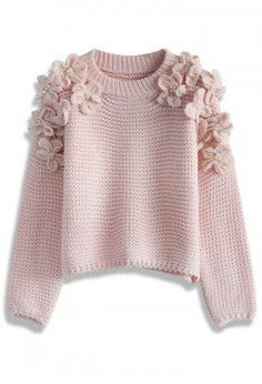 My Flowers and Pearls Sweater in Pink - Sweaters - Tops - Retro, Indie and Unique Fashion
