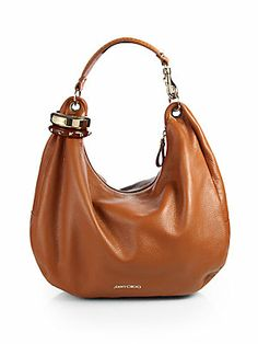 d3506c2cb1e4 Jimmy Choo - Solar Large Studded-Bangle Hobo. Brown ...