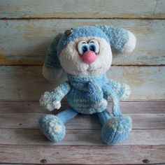 Amigurumi Toy Easter Bunny Sweet Blue Bunny Crochet Knitted