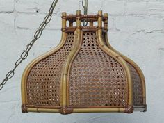 Large Vintage Wicker Cane Hanging Swag Lamp from 1970s