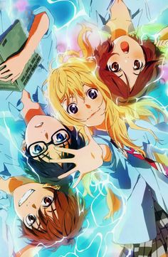 Kaori, Kousei, Tsubaki, and Watari. -- Anime, Your Lie In April, Shigatsu wa Kimi no Uso, friends relationship, characters, fan art