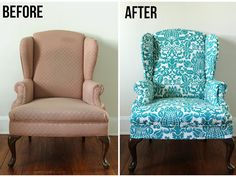 A cure for the blahs. A drab wingback chair is brought back to life with this bright paisley fabric. Repurpose Old Furniture - DIY Furniture Makeovers - Good Housekeeping