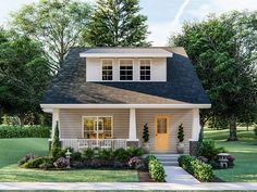 050H-0194: Two-Story Bungalow House Plan; 1437 sf