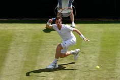 Andy Murray hits a forehand during his Second round match