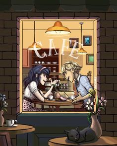 Adrien and Marinette dating at a cafe~ (Miraculous Ladybug, Adrinette)