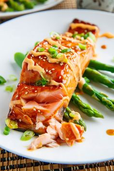 Salmon Teriyaki -- finished with a drizzle of Sriracha Mayonnaise