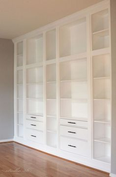 BUILT-IN BOOKCASE REVEAL (AN IKEA HACK) IKEA Hemnes builtins with pretty detailed instructions and trials and tribulations. They look fab!IKEA Hemnes builtins with pretty detailed instructions and trials and tribulations. They look fab! Ikea Bookcase, Bookshelves Built In, Built Ins, Ikea Shelves, Diy Built In Shelves, Ikea Shelving Unit, Bookcase With Drawers, Office Shelving, Billy Bookcases