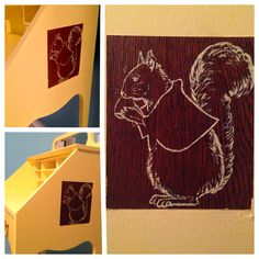 """A desk update! The 1st side squirrel painting is done! Ended up painting by hand rather than trying a stencil. Still another squirrel to do on the other side as well. Looking into a way to edge/frame the design...the squirrel design is inspired by the 'Vintage Squirrel illustration from """"The Bolenius Readers, Fifth Reader"""", 1929 by Emma Miller Bolenius. Illustrated by Mabel B. Hill'. Photo copyright 2013 Polar Bear Studio"""