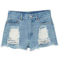 Monki Kelly Denim shorts ($17) ❤ liked on Polyvore featuring shorts, bottoms, pants, short, light blue, torn shorts, ripped denim shorts, ripped short shorts, summer shorts and ripped shorts