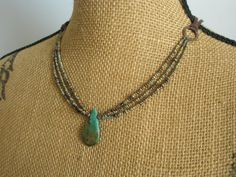 Gemstone Necklace Turquoise Czech Beads Leather and by esdesigns65