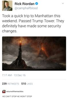 Some of my friends like Trump so if I want to talk trash about Trump/Pence I use LOTR code words like Trump= Sauron Pence= Saruman (I made these on their levels of power not actions)