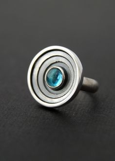Ring | Lucie Veilleux.  'Galaxy'.  Sterling silver and Swiss blue topaz