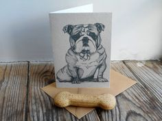 British Bulldog Card by huxleyjonesdesigns on Etsy