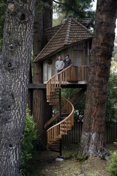 Artist Jay Nelson stands with Daria Joseph in front of the treehouse he built for her on commission in her backyard in Marin County. Photo: Michael Short, The Chronicle<br> Artist Jay Nelson i Beautiful Tree Houses, Cool Tree Houses, Building A Treehouse, Treehouse Ideas, Backyard Treehouse, Silo House, Tree House Designs, Tree Tops, Shed Plans