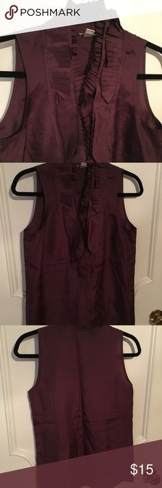 Jcrew silk ruffle top Jcrew silk ruffle top. Beautiful burgundy / Bordeaux color. Great condition (maybe worn once if at all). Sorry for the wrinkles! Smoke free home. J. Crew Tops Blouses