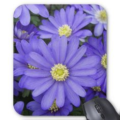 Purple Anemones Floral Mouse Pad - spring gifts beautiful diy spring time new year