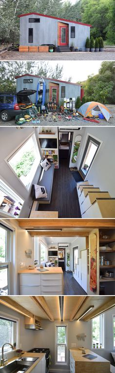 This 204 sq.ft. tiny house is perfect for outdoor enthusiasts. A 24 sq.ft. (162 cubic ft.) gear room provides plenty of space for outdoor and sports gear.