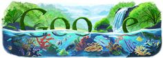 Beautiful Google Doodles (1998 – 2010) earth day. i love the colours the waterfall going through the l and its very natural.