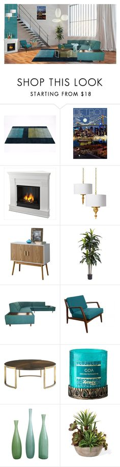 """""""Detroit city loft"""" by rachelbarkho ❤ liked on Polyvore featuring interior, interiors, interior design, home, home decor, interior decorating, Umbra, Real Flame, Nearly Natural and MCM"""
