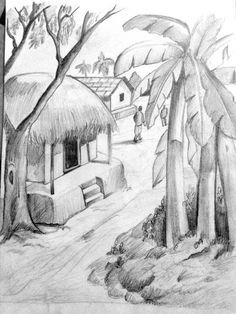 Scenery Drawing Pencil, Pencil Sketches Landscape, Landscape Drawing Easy, Pencil Drawings Of Nature, Art Drawings Sketches Simple, Landscape Art, Easy Pencil Drawings, Pencil Sketch Drawing, Art Village