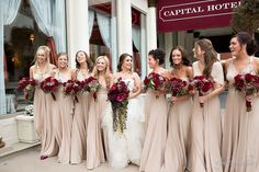 Fall Wedding-Champagne Bridesmaid Dresses Paired with Burgundy Bouquets - ColorsBridesmaid burgundy wedding Fall Wedding-Champagne Bridesmaid Dresses Paired with Burgundy Bouquets Beige Bridesmaids, Champagne Bridesmaid Dresses, Wedding Dresses, Maxi Dresses, Dress Prom, Champagne Wedding Colors, Toga Dress, Taupe Wedding, Neutral Bridesmaid Dresses