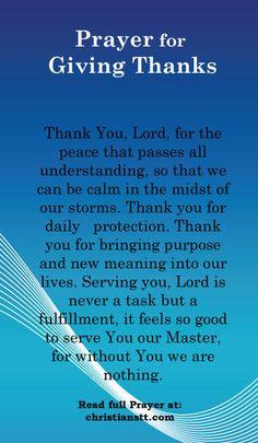 PRAYER: GIVING THANKS