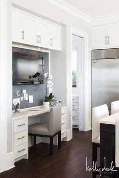 Kelly Deck Design - kitchens - built in desk, kitchen desk, desk in kitchen, kitchen office, kitchen tv, gray leather chair, kitchen work space,