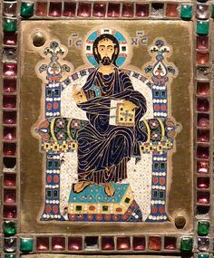 """Detail from the cover: Christ in majesty  """"Reliquary of the True Cross"""" or Staurothek  Constantinople Byzantine, c. 960 CE  gold, gems, cloisonné enamel polychrome h: 48 cm  from Limburg a.d. Lahn; Diözesanmuseum or Dom-Museum, Domschatz"""