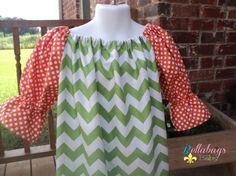 Halloween Green Chevron Peasant Dress with 3/4 sleeve Orange Dots - Sizes 18M - 12Y