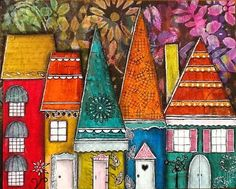 Original artwork, colorful collage, charming, whimsical houses on 8 X 10 Masonite.    Created by Cyndi Cesare. Signed and dated on back.    To