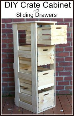 diy crate cabinet with sliding drawers, diy, storage ideas, woodworking projects diy beginner diy pallet diy projects diy rustic diy woodworking Wood Projects For Beginners, Diy Wood Projects, Home Projects, Wood Projects That Sell, Diy Storage Projects, Wood Working For Beginners, Easy Woodworking Projects, Woodworking Plans, Popular Woodworking