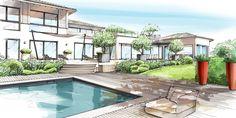 JARDIN : SAINT-TROPEZ | LOUP&Co Landscape Sketch, Landscape Drawings, Landscape Plans, Landscape Design, Architecture 101, Perspective Sketch, Exterior Rendering, Saint Tropez, Interior Design Sketches