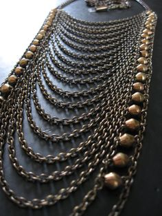 Tribal Breastplate Inspired Statement Necklace - African Bronze Beads and Vintage Brass.