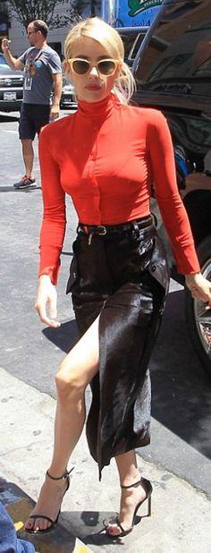 Emma Roberts wearing Nina Ricci and Stuart Weitzman