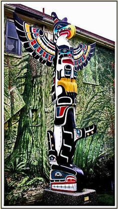Native American  totem poles paintings | Totem poles Native American Indian Northwest Coast Kwakwaka'wakw art ...