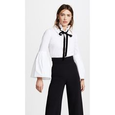 Monique Lhuillier Bell Sleeve Blouse ($1,690) ❤ liked on Polyvore featuring tops, blouses, white tie shirt, velvet shirt, white shirt blouse, white ruffle collar blouse and long shirts